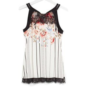 WHBM LACE TRIM FLORAL CAMI NWT SIZE 0